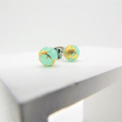 Aqua Stud Earrings by Helen Chalmers
