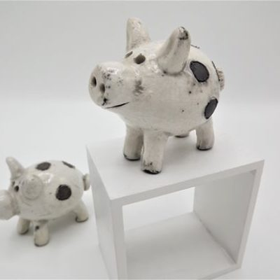 Raku Ceramic Piglet by Rob Whelpton