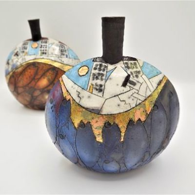 Raku Ceramic Pot in Blue by Rob Whelpton
