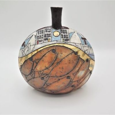 Raku Ceramic Pot in Teracotta by Rob Whelpton