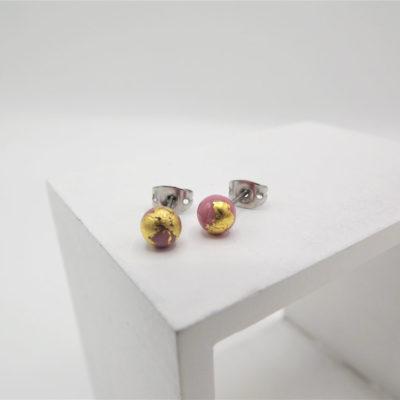 Rose Pink Stud Earrings by Helen Chalmers