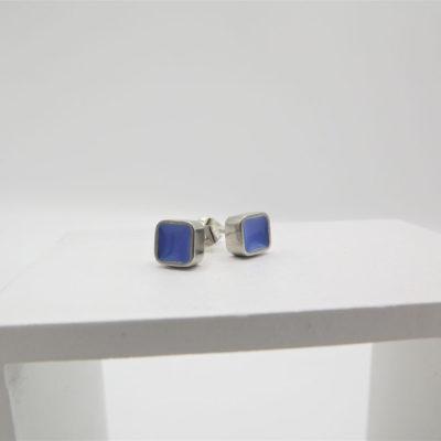 Blue Block Stud Earrings by Koa