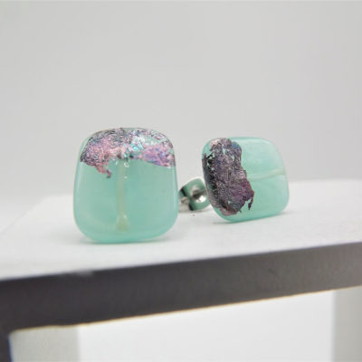 Aqua Japanese Inspired Studs by Helen Chalmers