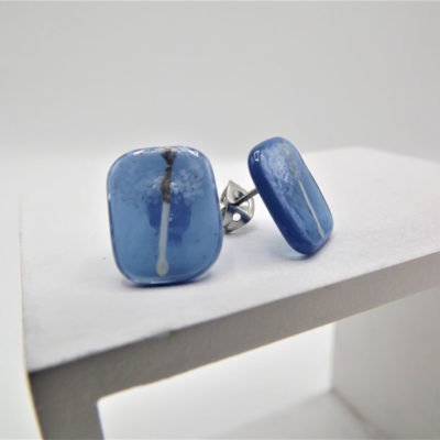 Clear Blue Japanese Inspired Studs by Helen Chalmers