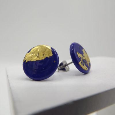 Deep Blue Button Studs by Helen Chalmers