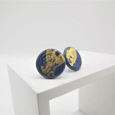 Denim Blue Button Studs by Helen Chalmers