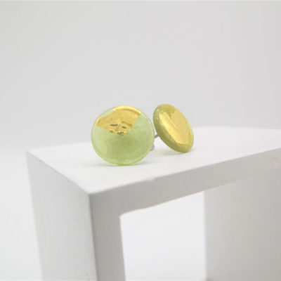 Lime Button Studs by Helen Chalmers