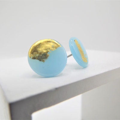 Sky Blue Button Studs by Helen Chalmers