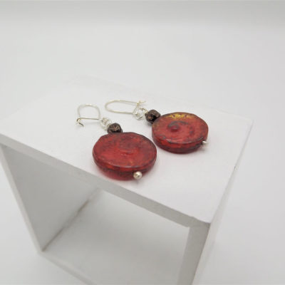 Amonite in Red Earrings