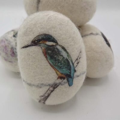 Medium Kingfisher Felt Pebble by Lindsey Tyson