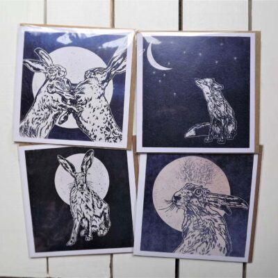 Hares and Fox Cards by Sarah Cemmick