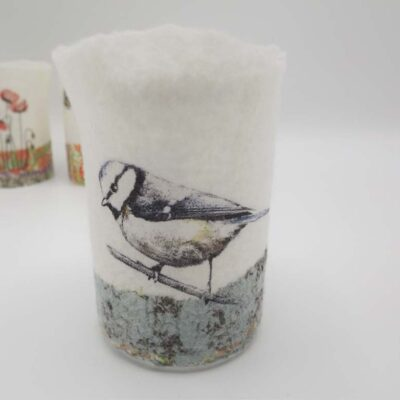 Felt Blue Tit T-light Holder by Lindsey Tyson