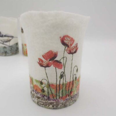 Felt Poppy T-light Holder by Lindsey Tyson