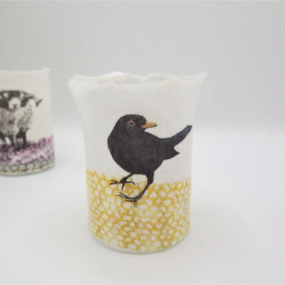 Felt Blackbird T-Light Holder by Lindsey Tyson
