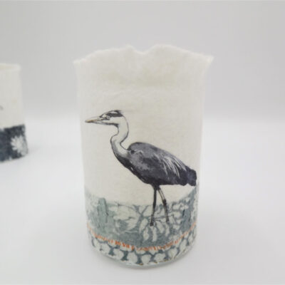 Felt Heron T-Light Holder by Lindsey Tyson