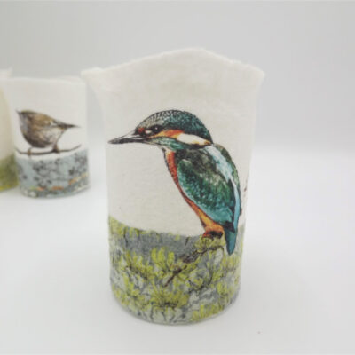 Felt Kingfisher T-Light Holder by Lindsey Tyson