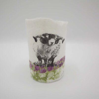 Felt Sheep T-Light Holder by Lindsey Tyson