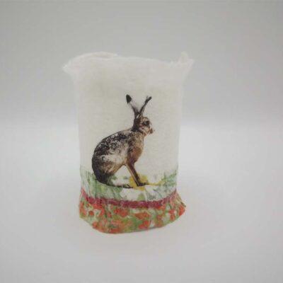 Felt Hare T-Light Holder by Lindsey Tyson
