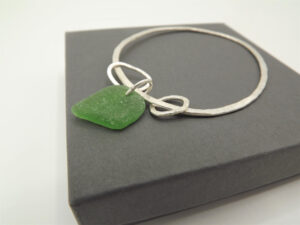 Eco Silver Bangle with Sea Glass by Sarah Drew