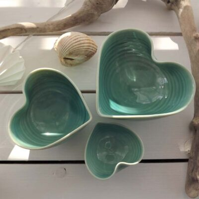 Porcelain Heart Bowls in Turquoise by Mary Howard-George