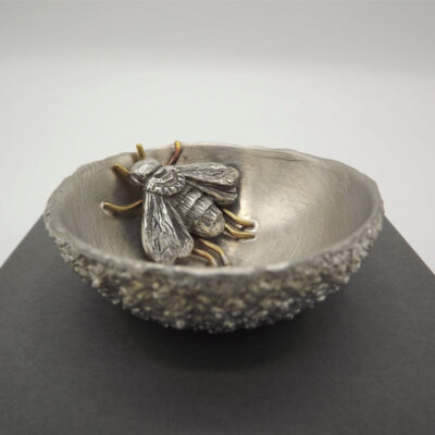 Small Pewter Bowl with Bee by Jim Stringer.