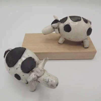 Raku Ceramic Cow by Rob Whelpton