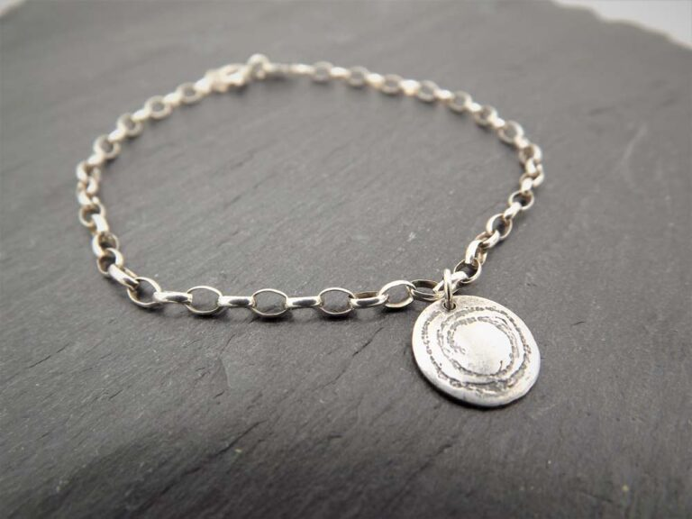 silverfish designs oxidised spiral bracelet