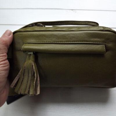 Leather Guild Handbag in Olive Green.