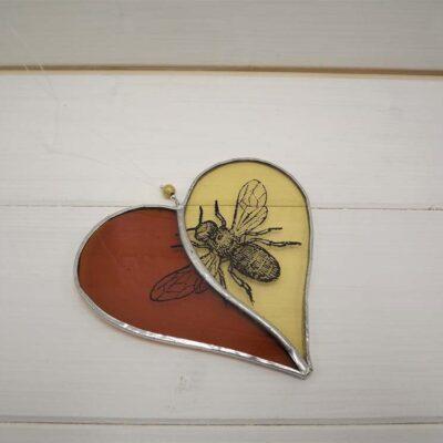 Clare Wainwright Two Tone Heart with Bee Screenprint