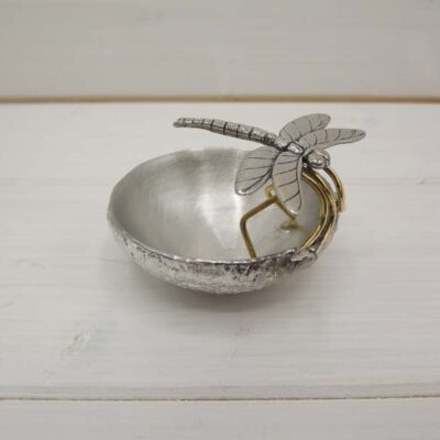 Small Pewter Bowl with Dragonfly by Jim Stringer.